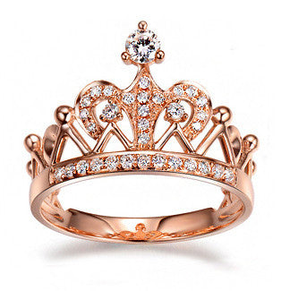 Exquisite Crown Shaped Ring Rose Gold Plated CZ Rings for Women Fashion Plated Aneis De Ouro Zirconia Jewelry