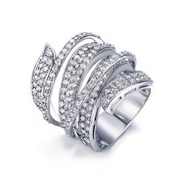 Vivid Ring Unique Shaped White Gold Plated CZ Full Paved Cocktail Rings for Womens Fashion jewellery Party Rings