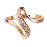 Charming Rings Gift 18k Gold Plating White Crystal CZ Engagement Rings for Women Jewelry High-quality