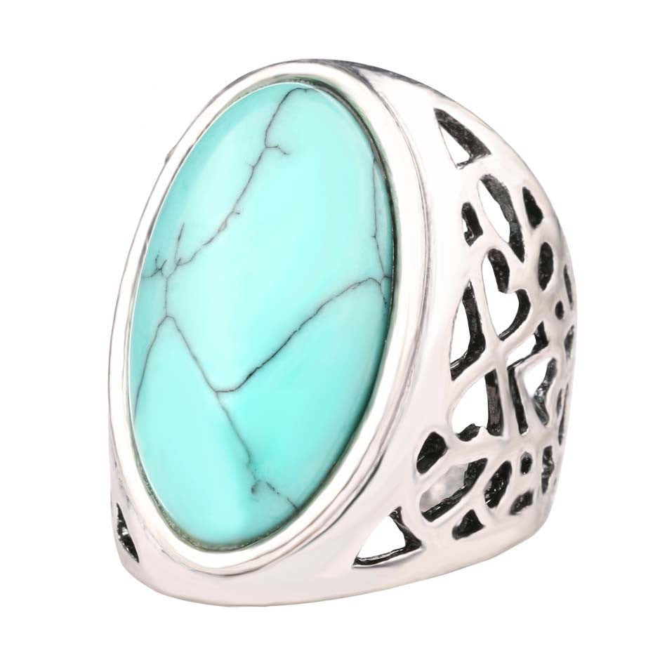 Unique Big Oval Turquoise Ring Bohemian Style Tibet Silver Alloy Jewelry Forever Love Free Promise Rings Carteiras Femininas