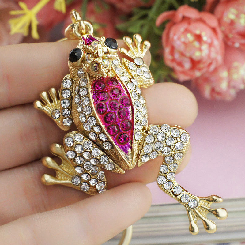 Unique Crown Frog Keyring Keychain Fashion Metal HandBag Pendant Purse Bag Buckle key chains holder Accessories Gift