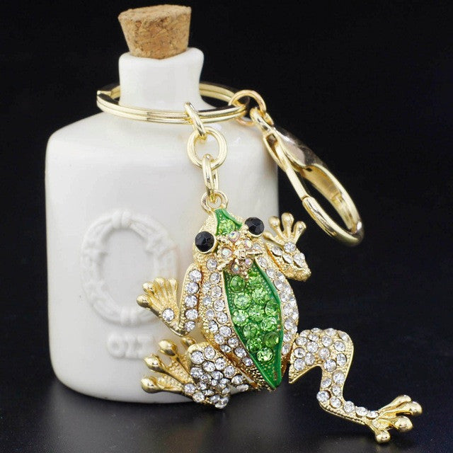 Unique Crown Frog Keyring Keychain Holder Fashion Metal HandBag Pendant Purse Bag Buckle Accessories Gift