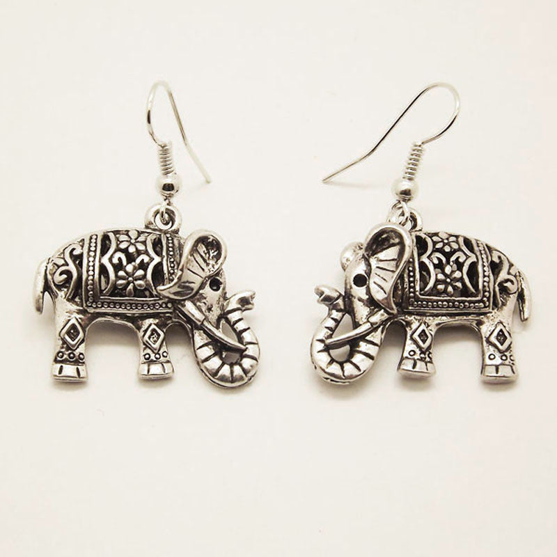 Unique Tibetan Silver Hollow Out Carved Animal Elephant Drop Dangle Fashion Vintage Earrings For Women Gift Jewelry