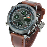 Unique Vogue Men Swimming Digital LCD Quartz Outdoor Sports Watches Relogio Masculino Clock With Handmade Leather Strap