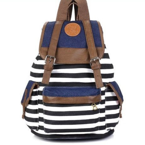 Unisex Fashionable Canvas Backpack School Bag Super Cute Stripe School College Laptop Bag for Teens Girls Boys Students