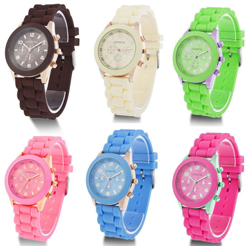 Unisex Geneva Casual Watch Women Dress Watch Quartz Military men Silicone watches Unisex Wristwatch Sports watch