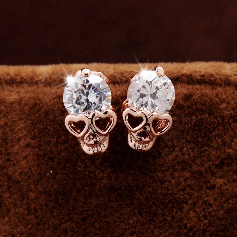 Valentine's Day Trendy Earrings For Women's/Girl's 18k Yellow Gold Plated CZ Diamond Skull Pierced Stud Earrings Jewelry Gift