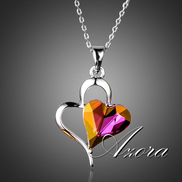 Valentine's Day Gift for Lover Double Heart Stellux Austrian Crystal Pendant Necklace