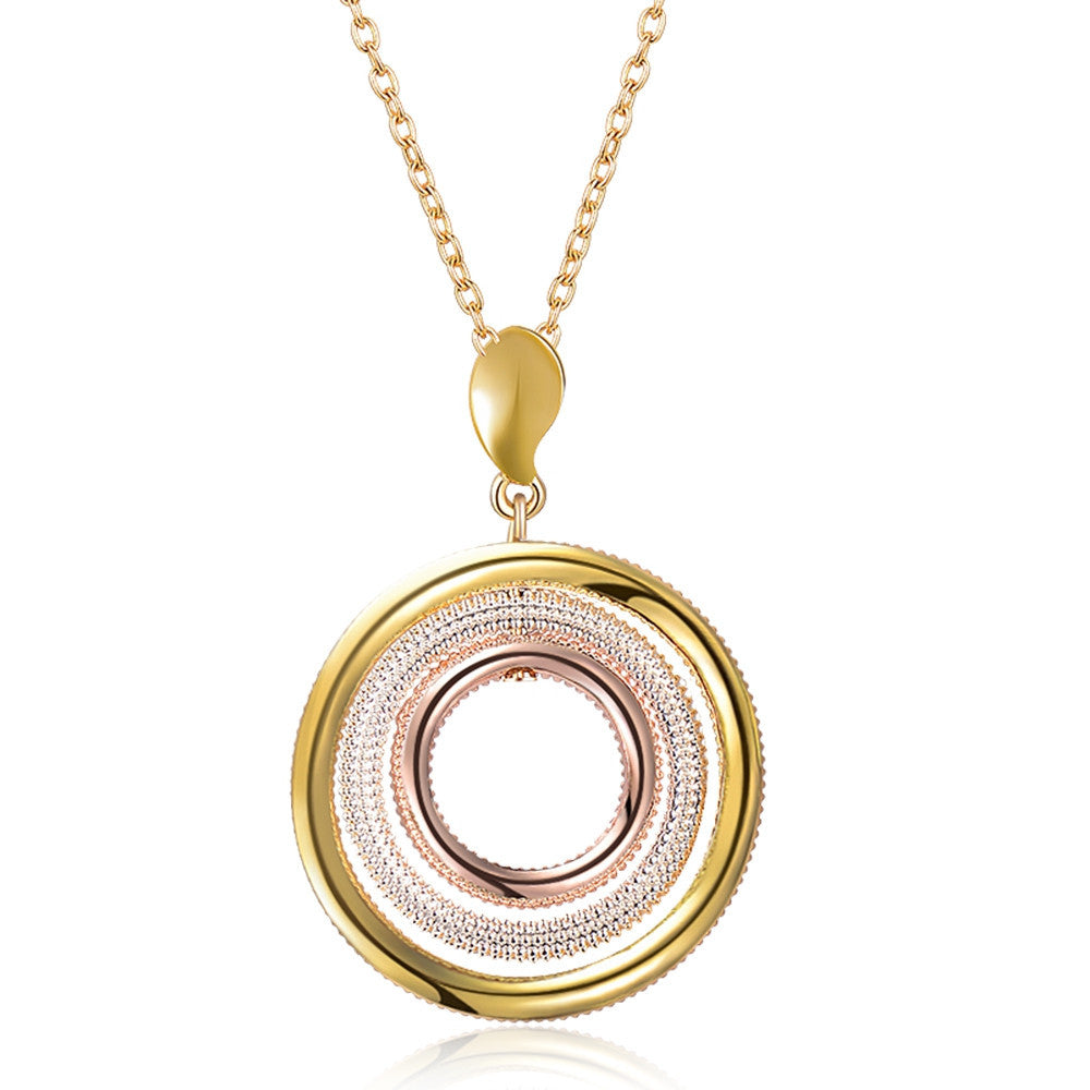 New Multicolored Round Pendant Necklace Women Gold & Silver & Rose Gold Plated Triple Circles Necklaces Trendy Jewelry
