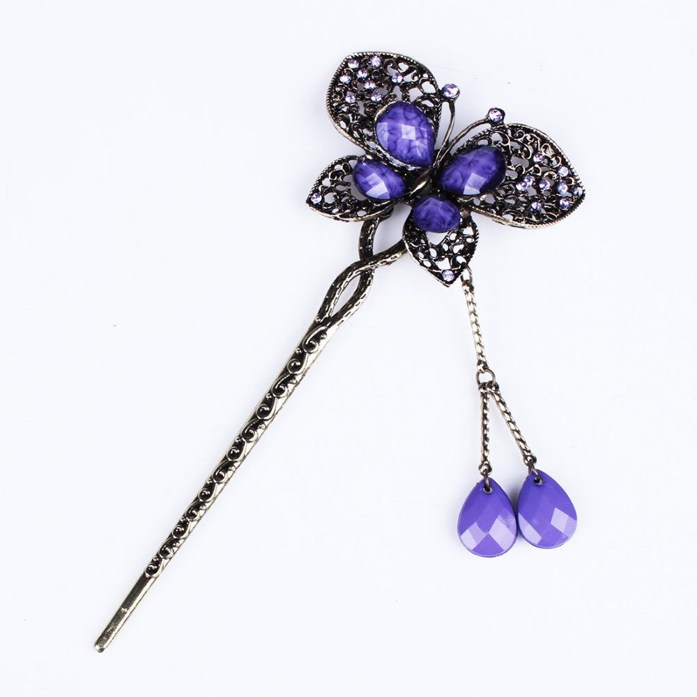 Vintage Fashion Jewelry Hair Wear Hair Plug Women Girl Headdress Headwear Hairpin Rhinestone Butterfly Hair Sticks