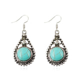 Vintage Fine Jewelry for Women Silver Color Dangle Earrings Tibetan Turquoise Earrings For Women