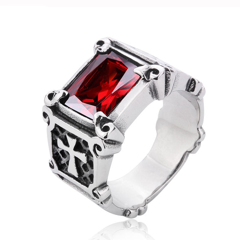Vintage Friar Men's double cross Ring With Black/Red/Blue three colors Stone Fashion Ring