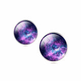 Vintage Galaxy Cabochon Earrings Silver Color Stud Earrings for Valentine's Day Romanitc Moon Earrings for Women Gift