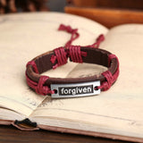 "Vintage Jewelry Genuine Leather Bracelet Men Bracelet for Women Femme ""FORGIVEN"" Charm Bracelets Bangles Fashion Jewelry"