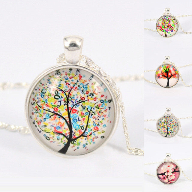 Vintage Life Tree Necklace Fashion Glass Cabochons Statement Necklace Silver Color Jewelry for Women Gift Sweater Collares