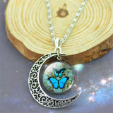 Vintage Sterling Silver Jewelry Fashion Moon Butterfly Collares for Women Romantic Glass Cabochon Statement Pendant Necklace