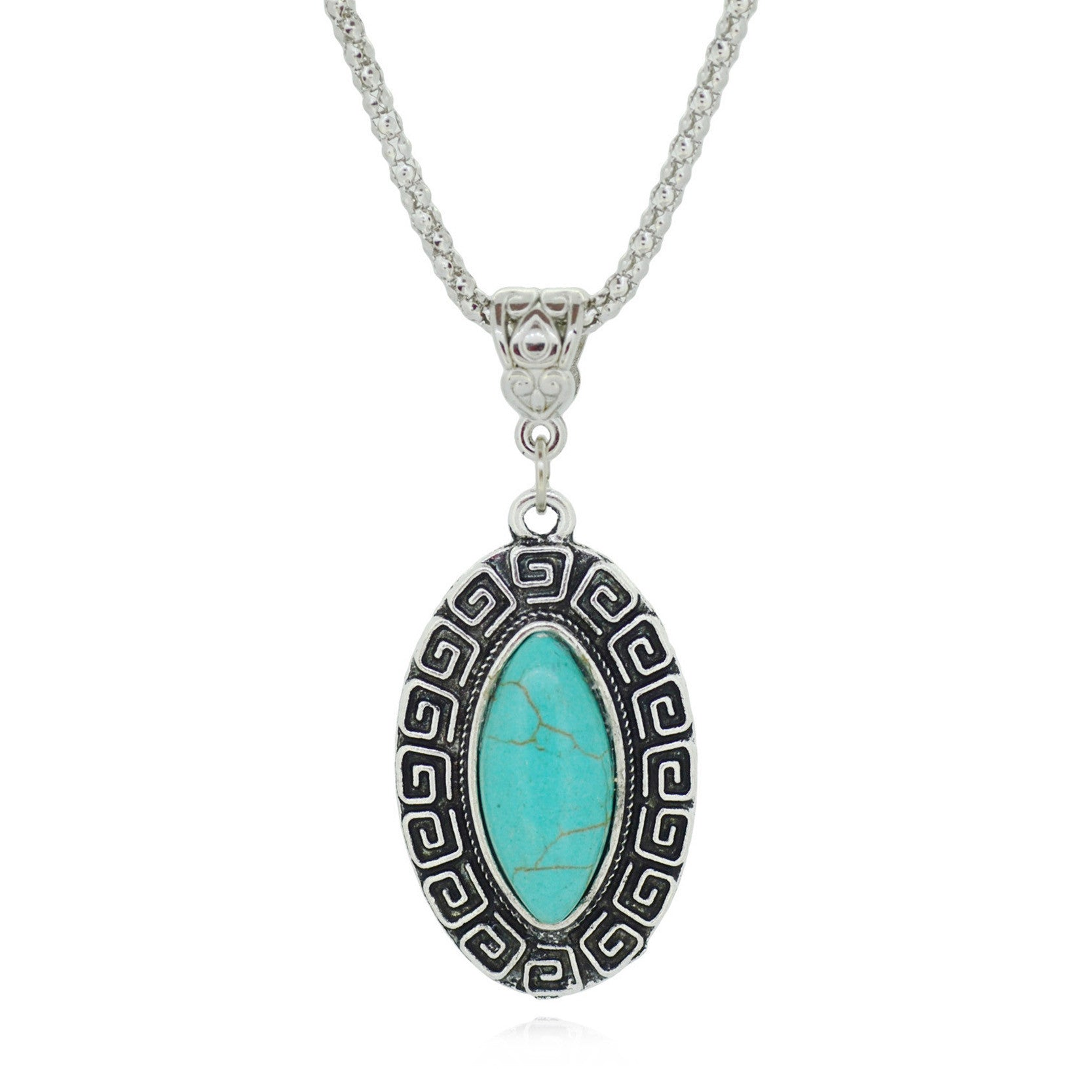 Vintage Tibetan Silver Color Jewelry Fashion Turquoise Collares Summer Style Statement Chain Necklace for Women
