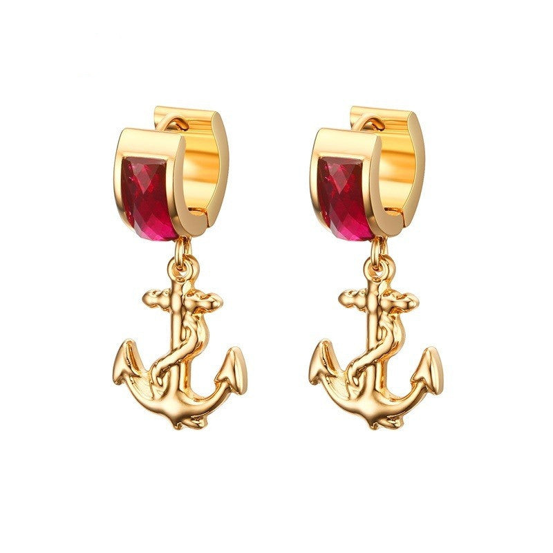 Vintage drop earrings for women gold plated stainless steel anchor hanging dangle wedding earrings with stones