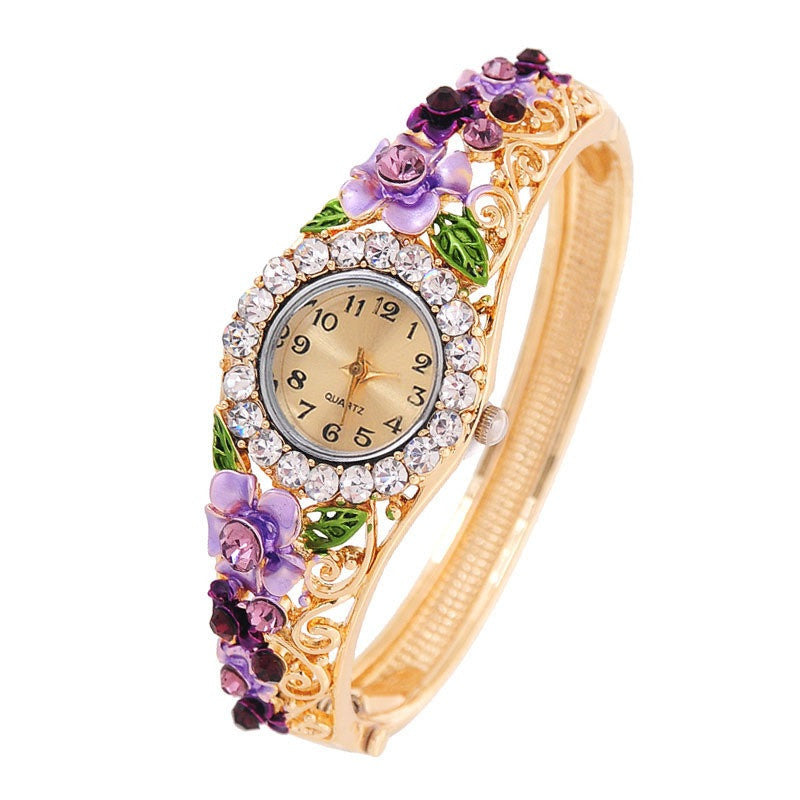 Vintage relogio Quartz Watches Luxury Brand Women Relogio Feminino Bracelet Fashion Gold Plated Crystal Montre Femme Watches