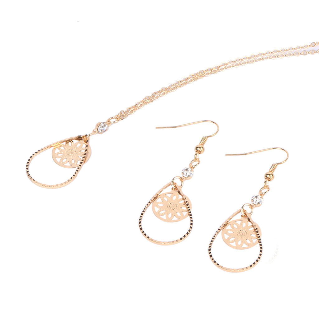 Vintage High Quality Gold Crystal Jewelry Sets Fashion Drop Earrings & Statement Necklace Fahion Jewelry for Women Gift