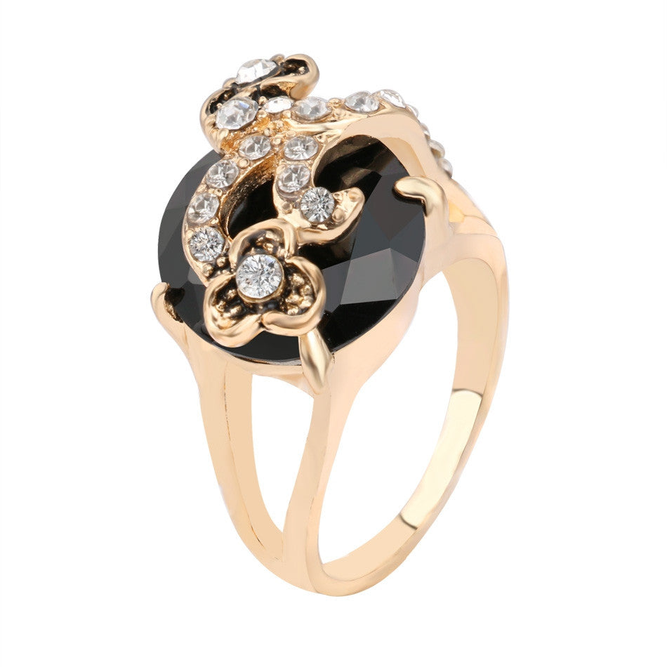 Vintage Jewelry Black Ring For Women 18K Gold Mosaic Crystal Bohemia Wedding Rings