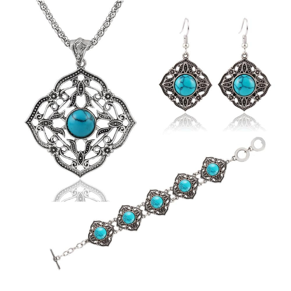 Vintage Jewelry Sets Chain Necklaces Drop Earrings Bracelets Turquoise Tibetan Silver Round Flower Hollow Design Jewellry Women