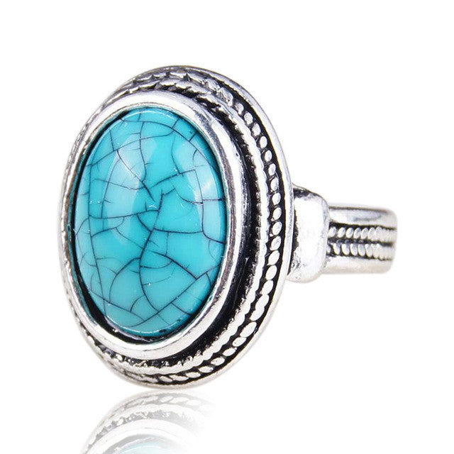 Vintage Look Bohemian Mini Turquoise Rings For Women Africa Bead Jewelry New Design High Quality