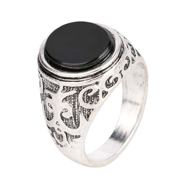 Vintage Men Jewelry Black Enamel Ring For Men Silver Plated Circular Surface Classic Pattern Fashion Rings
