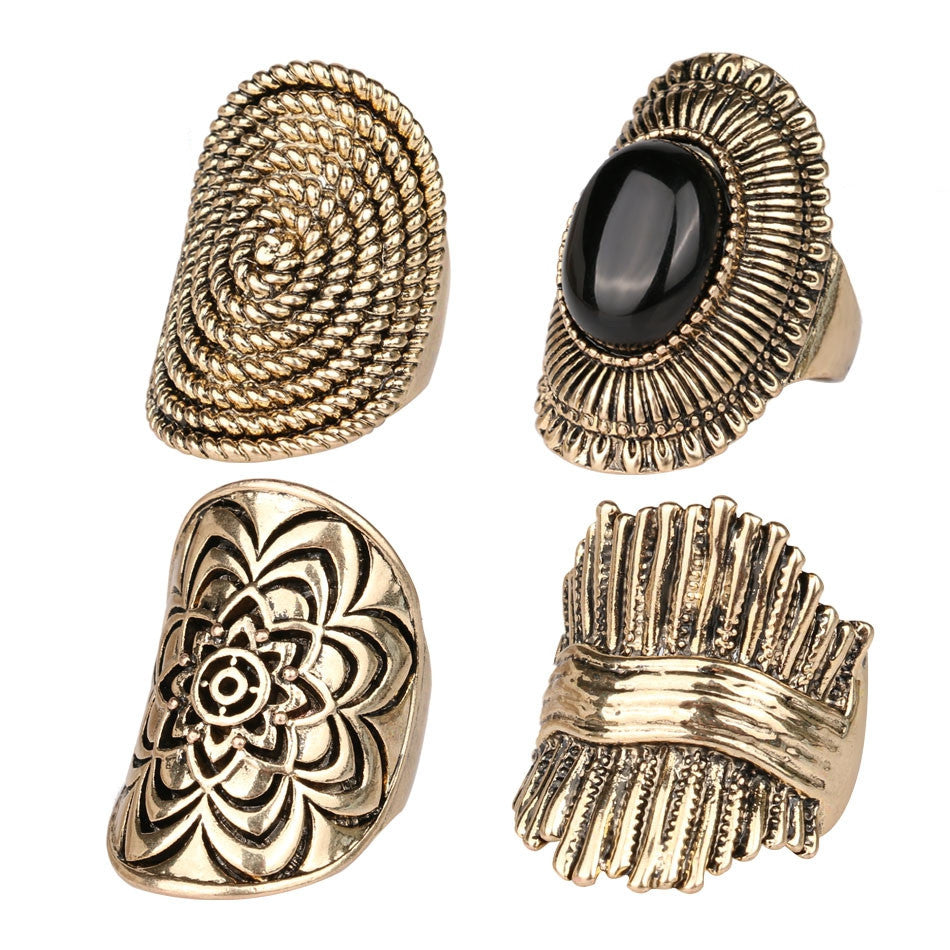 Vintage MiDi Ring 4PCS/Stes Fashion Gold Jewelry Classical Punk Pattern Rings For Women Party Accessories Aros Anel