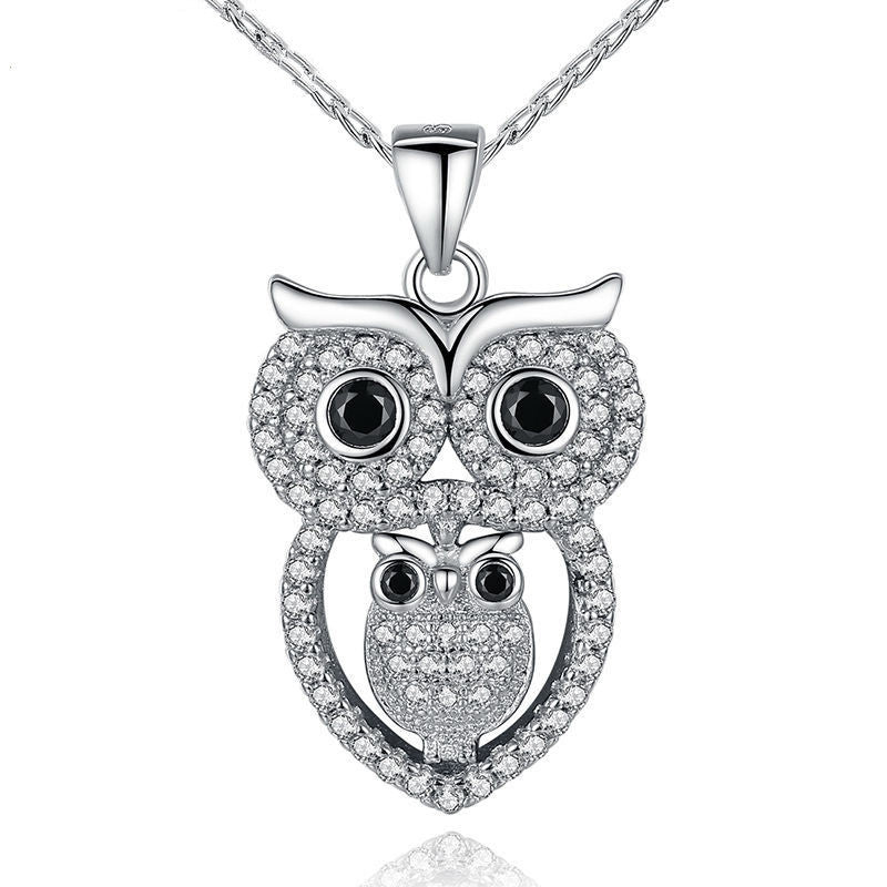 Vintage Owl Pendant Necklace with AAA Austrian Zircon 18K White Gold Plated Summer Collection Animal Jewelry