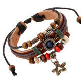 Vintage Retro Genuine Leather Bracelets & Bangles 5 Star Pendant Handmade Bead Bracelet Pulseras For Women Men Brown