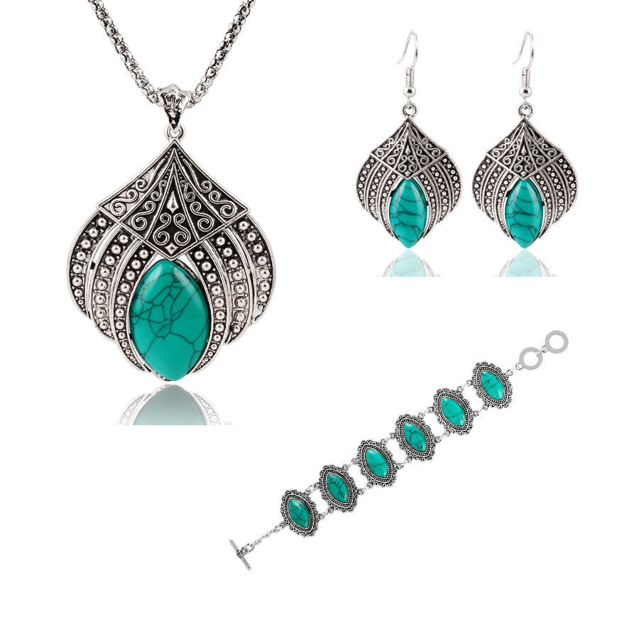 Vintage Silver Plated Geometric Jewelry Sets Water Drop Turquoise Earrings Necklace Bracelet Fashion For Women Accessories