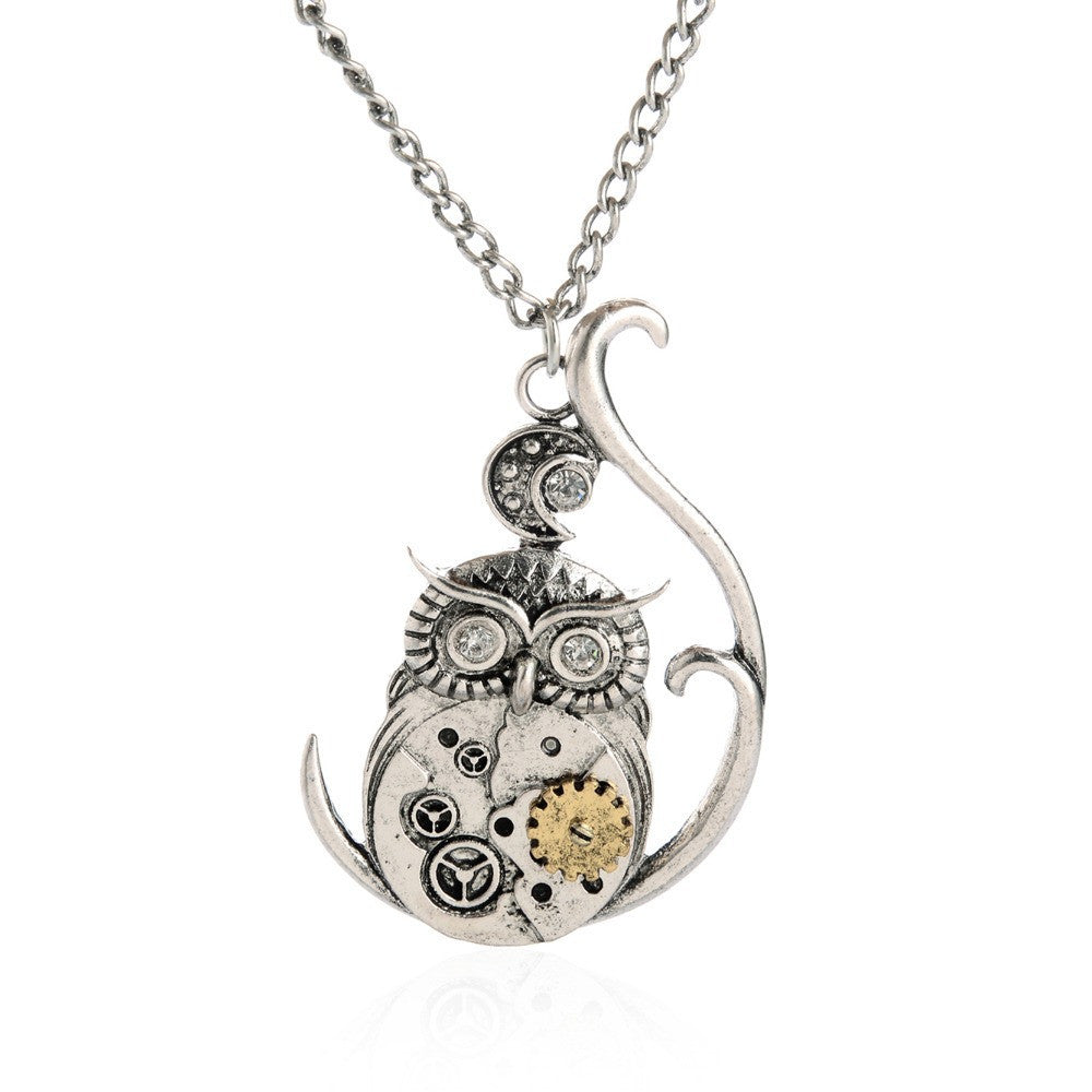 Vintage Steampunk Necklace Antique Owl Clock Spider Love Pendant Chain Necklace New Jewelry For Men Women