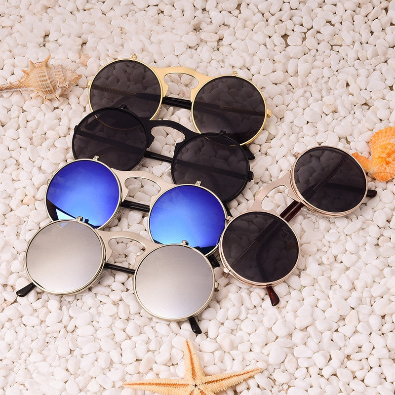 Vintage Steampunk Sunglasses round Designer steam punk Metal Oculos de sol women Coating Sunglasses Men Retro Circles Sun Glassess