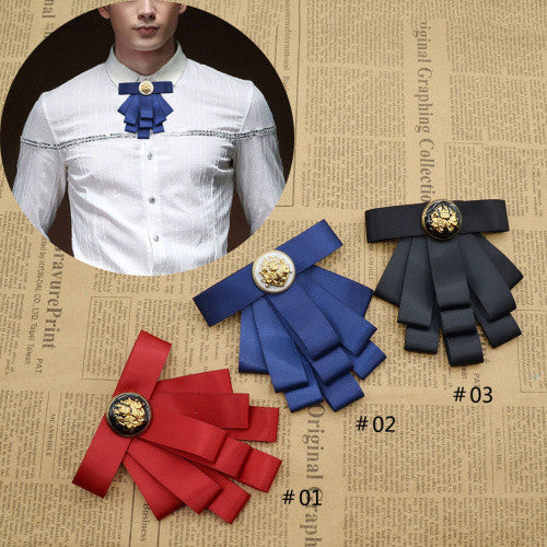 Vintage Style Black Ribbon Wedding Men Pre Tied Velvet Bow Tie Brooch Pin Clip Fashion Accessories