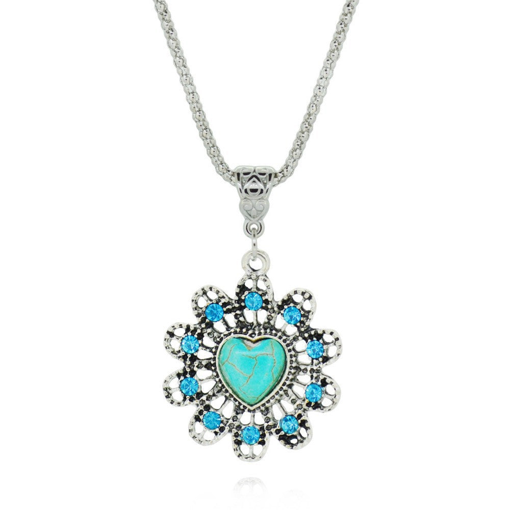 Vintage Turquoise necklaces & pendants Fashion Silver Color Jewelry for Women Classic Crystal Statement Chain Necklace