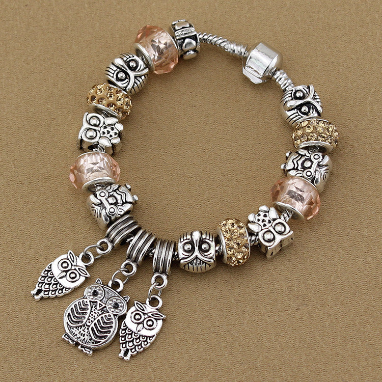 Vintage jewelry Owl Bracelet & Bangles Antique Silver Crystal Beads Owl Charm Pendant Bracelet for Women