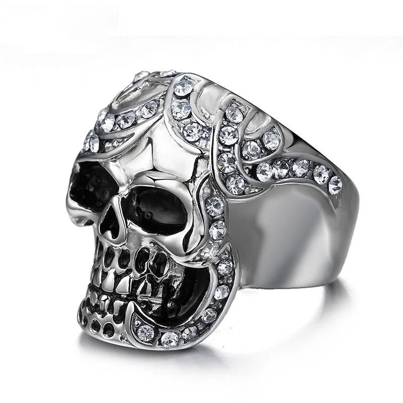 Vintage Europe Skull Ring Party King Men Ring Rock Punk Horrible Stainless Steel Metal