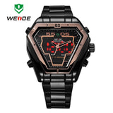WEIDE Men Watch Stainless Steel LED Digital Quartz Multi-function Waterproof Casual Sports Watches Man Dress Wristwatches