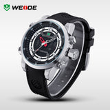 WEIDE Men's Quartz Full Steel Army Diver Watches Men Military Sports Watch PU Strap Luxury Brand LCD Back Light Wristwatch