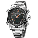 WEIDE Mens Watches LED Digital Analog Quartz-watch Display 2 Time Zones Full Stainless Steel Watch Men Waterproof 3ATM Clock
