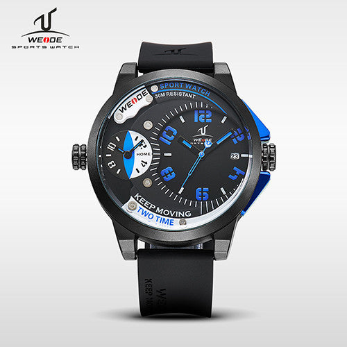 WEIDE Universe Series Mens Sports Wristwatches Quartz Clock Movement Silicone Band 30 Meters Waterproof Dual Time Zone relogios
