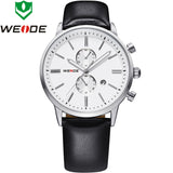 WEIDE Watches Men Luxury Brand Complete Calendar Military Quartz Sports Watch Leather Strap Watch Waterproofed Diver Wristwatch