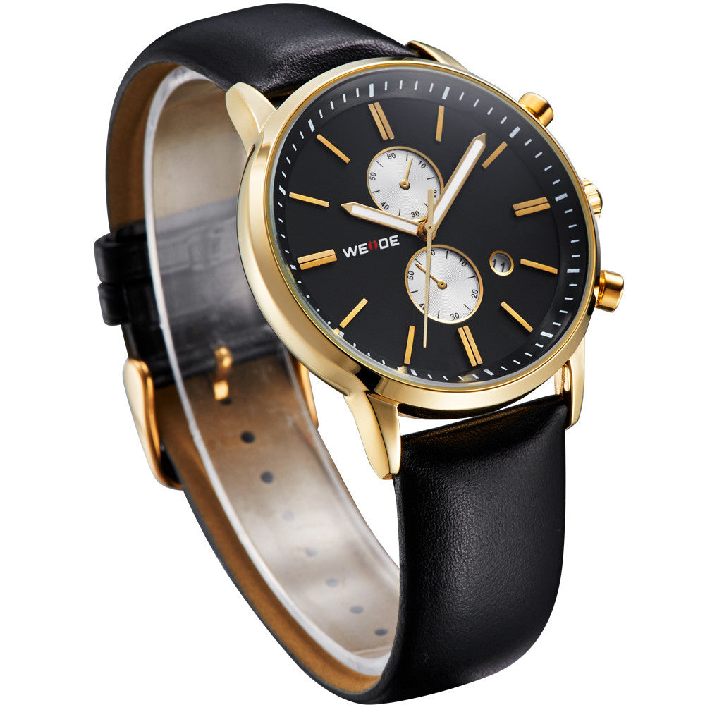 WEIDE Watches Men Luxury Brand Famous Men's Military Watch Sports Watches Waterproof Quartz Leather StrapWristwatch