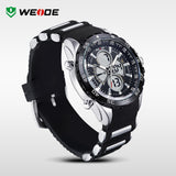 WEIDE Watches Men Quartz Full Steel Army Diver Men's Military Sports Watch Silicone Strap Luxury Brand LCD Back Light Wristwatch