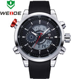 WEIDE Watches Men's Military Quartz Army Diver Watch Luxury Brand Relogio PU Strap Watches for Men 3ATM Waterproof