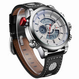 WEIDE New Men Fashion Wristwatches Luxury Famous Brand Men's Leather Strap Watch Sports Watches With High Quality Waterproof