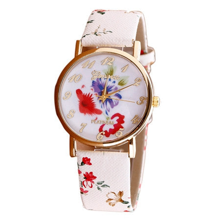 Watch Women Trendy Fashion Flower Patterns Dress Watches Female Hour Leather Lady Dress Analog Quartz Vogue Clock Relogio
