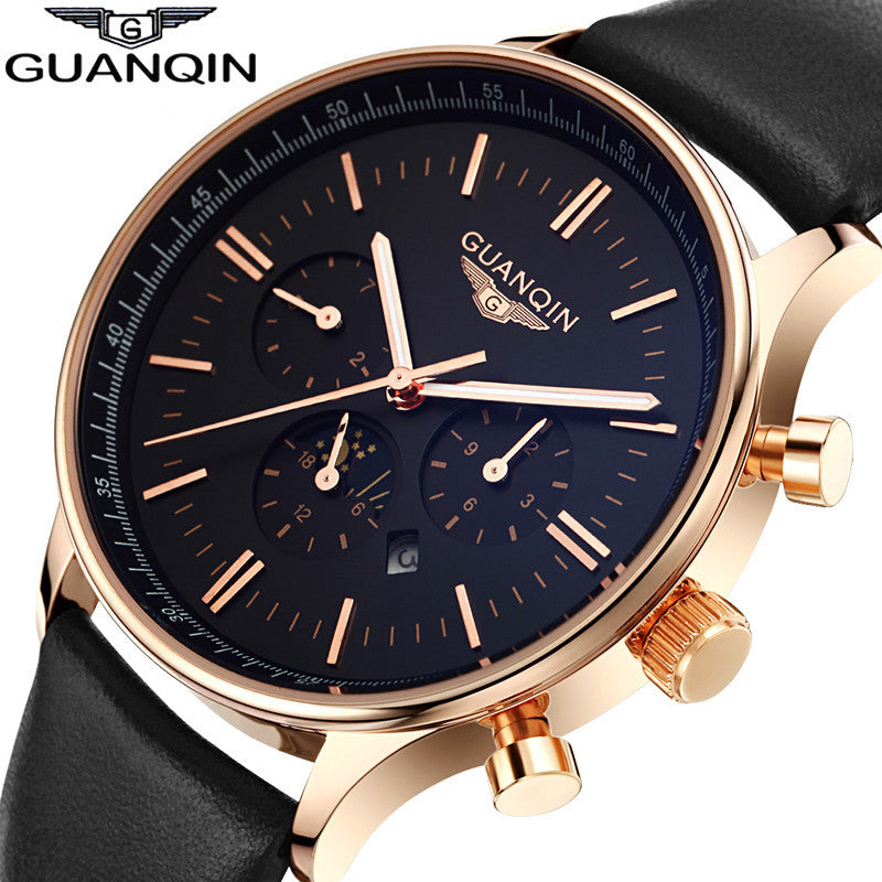 Watches Men Luxury Top Brand GUANQIN New Fashion Men's Big Dial Designer Quartz Watch Male Wristwatch relogio masculino relojes