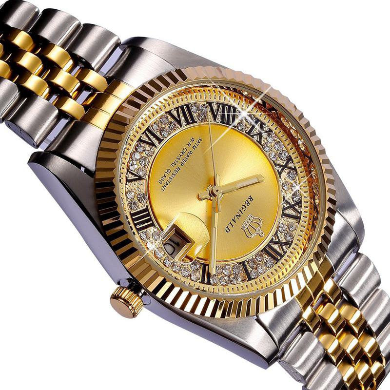 Waterproof Top Brand REGINALD Golden Lady Watch Quartz Date Crystal Women's Dress Watch